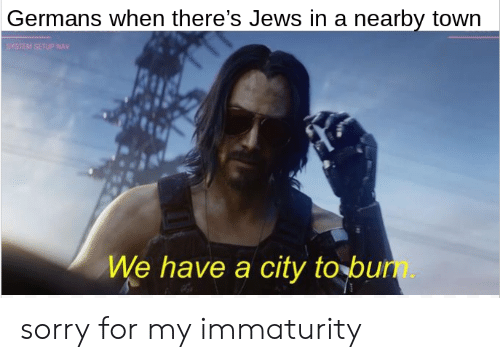 Sorry, Dank Memes, and Jews: Germans when there's Jews in a nearby town  SYSTEM SETUP NAV  We have a city to bum. sorry for my immaturity