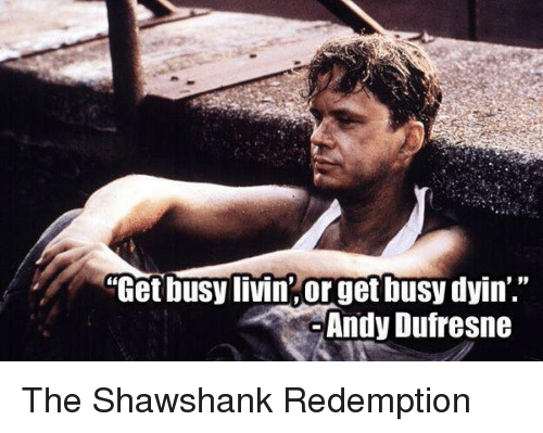 """Andy Dufresne, Memes, and The Shawshank Redemption: """"Get busy livin, orget busy dyin'.  Andy Dufresne The Shawshank Redemption"""