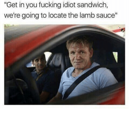 """Fucking, Idiot, and Sauce: """"Get in you fucking idiot sandwich,  we're going to locate the lamb sauce"""""""