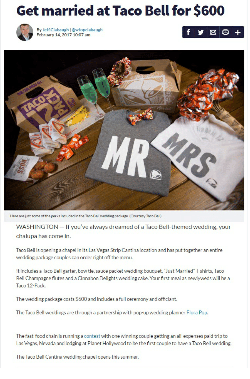 Taco Bell Wedding.Get Married At Taco Bell For 600 By Jeff Clabaugh February 14 2017