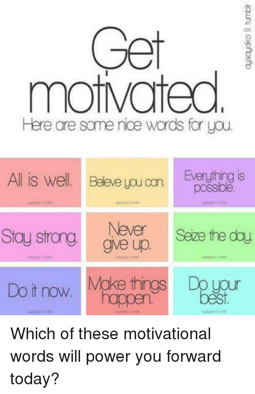Get Mot Mated Here Are Some Noe Words For You All Is Well Believe - Motivational words of the day