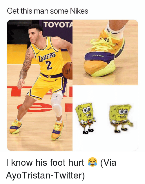 Basketball, Nba, and Sports: Get this man some Nikes  TOYOT  Ke I know his foot hurt 😂 (Via ‪AyoTristan‬-Twitter)