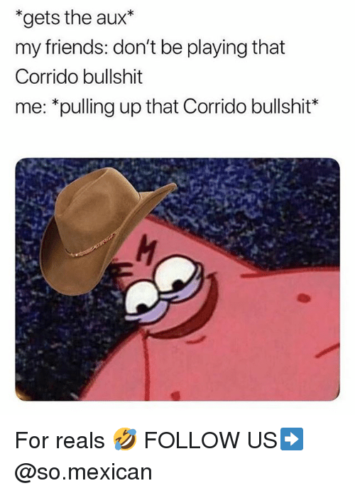 Friends, Memes, and Mexican: *gets the aux*  my friends: don't be playing that  Corrido bullshit  me: *pulling up that Corrido bullshit* For reals 🤣 FOLLOW US➡️ @so.mexican