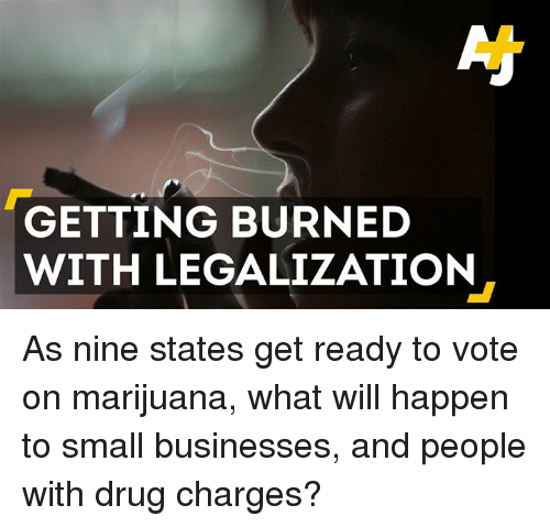 Drugs, Memes, and Business: GETTING BURNED  WITH LEGALIZATION As nine states get ready to vote on marijuana, what will happen to small businesses, and people with drug charges?