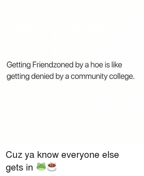 College, Community, and Hoe: Getting Friendzoned by a hoe is like  getting denied by a community college. Cuz ya know everyone else gets in 🐸☕️