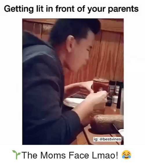 Memes, 🤖, and  Get Lit: Getting lit in front of your parents  ig: bestvines ⠀ 🌱The Moms Face Lmao! 😂
