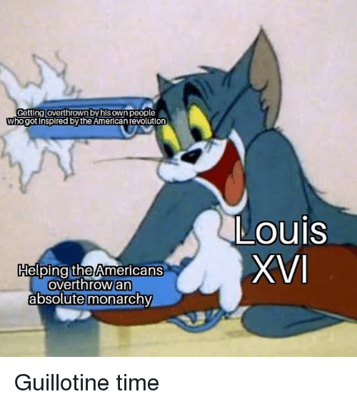 Memes, American, and Revolution: Getting loverthrown by his own people  who got inspired by the American revolution  Louis  HelpingitheAmericans  overthrow an  absolute monarchy Guillotine time