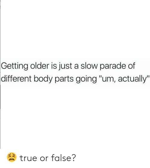 """Dank, True, and 🤖: Getting  older is just a slow parade of  body parts going """"um, actually""""  different 😫 true or false?"""