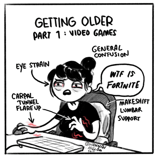 Wtf, Games, and Eye: GETTING OLDER  PART 1 VIDEd GAMES  GENERAL  CONFUSION  EyE STRAIN  WTF IS  FORTNITE  CARPAL  TUNNEL  FLAREUP  MAKESHIFT  LUMBAR  SUPPORT  HANNAH  HLLAM  3.6.19
