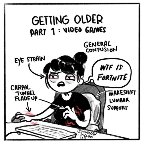 Video Games, Wtf, and Games: GETTING OLDER  PART 1 : VIDEO GAMES  GENERAL  CONFUSIoN  EYE STRAIN  WTF IS  FORTNITE  CARPAL  MAKESH(FiT  LUMBAR  SUPPORT  TUNNEL  FLAREUP-  HANNAH  3.6.19
