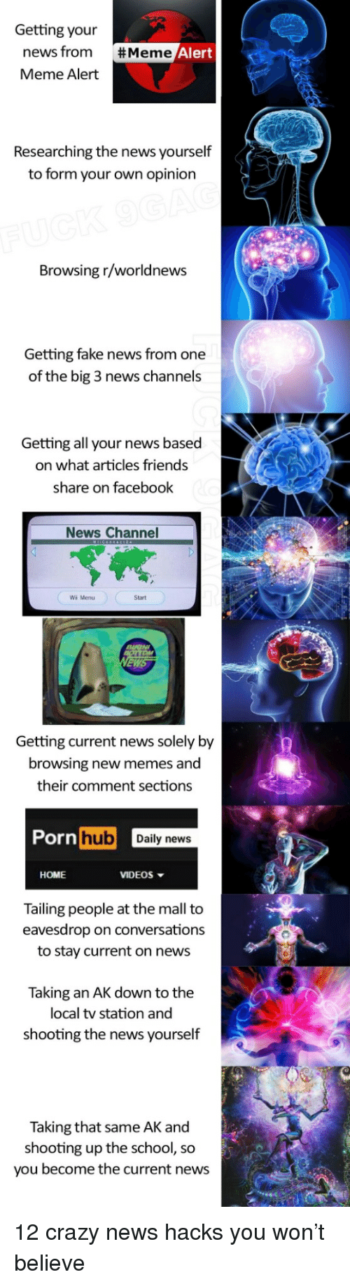 Crazy, Facebook, and Fake: Getting your  news from  Meme Alert  #Meme  Researching the news yourself  to form your own opinion  Browsing r/worldnews  Getting fake news from one  of the big 3 news channels  Getting all your news based  on what articles friends  share on facebook  News Channel  Wii Menu  Start  Getting current news solely by  browsing new memes and  their comment sections  hub Daily news  HOME  VIDEOS  Tailing people at the mall to  eavesdrop on conversations  to stay current on news  Taking an AK down to the  local tv station and  shooting the news yourself  Taking that same AK and  shooting up the school, so  you become the current news <p>12 crazy news hacks you won&rsquo;t believe</p>