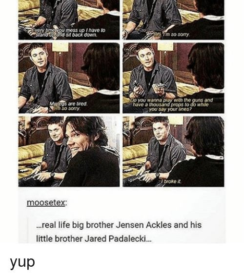 Memes, 🤖, and Brother: GEvorytmesou mess up inavo to  stback down.  My are wired.  props  While  have a  you say your lines?  troke it  moosetex:  ...real life big brother Jensen Ackles and his  little brother Jared Padalecki... yup