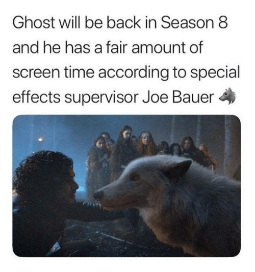 Game of Thrones, Ghost, and Time: Ghost will be back in Season 8  and he has a fair amount of  screen time according to special  effects supervisor Joe Bauer