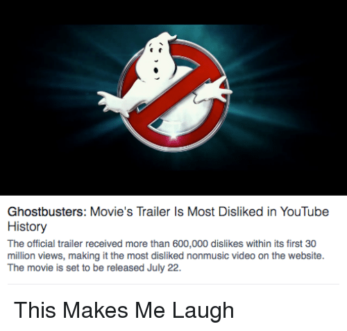 ghostbusters movie s trailer is most disliked in youtube history the