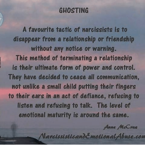 GHOSTING a Favourite Tactic of Narcissists Is to Disappear From a