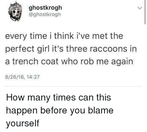 How Many Times, Perfect Girl, and Raccoon: ghostkrogh  @ghostkrogh  every time i think i've met the  perfect girl it's three raccoons in  a trench coat who rob me again  8/26/16, 14:27 How many times can this happen before you blame yourself