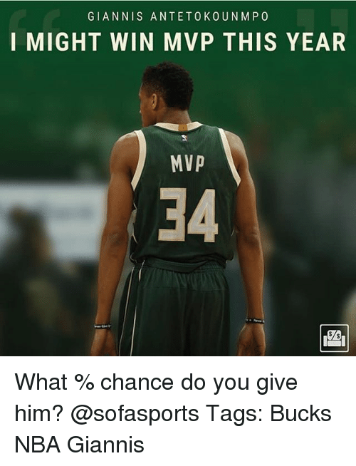 Memes, Nba, and 🤖: GIANNIS ANTETOKOUNM PO  I MIGHT WIN MVP THIS YEAR  MVP  34 What % chance do you give him? @sofasports Tags: Bucks NBA Giannis