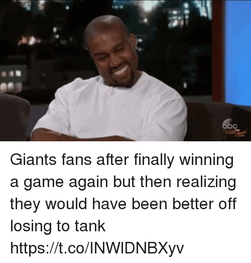 Football, Nfl, and Sports: Giants fans after finally winning a game again but then realizing they would have been better off losing to tank https://t.co/INWlDNBXyv