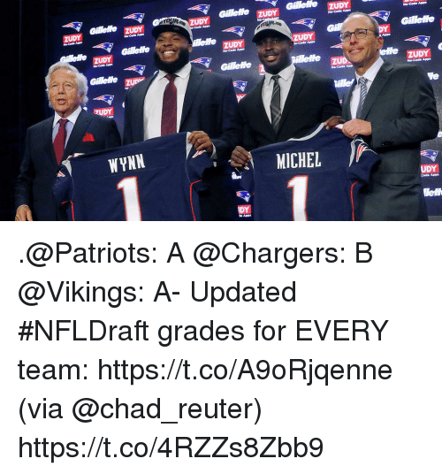 Memes, Patriotic, and Apps: Gillee ZUDY  Cee zUDY  ZUDY  ZUDY  ZUDY  ZUDY  ZUDY  zu  No-Code Apps  Gillete u  TUDY  WYNN  MICHEL  UDY  Code Apps  lelt  DY  e Apps .@Patriots: A @Chargers: B @Vikings: A-  Updated #NFLDraft grades for EVERY team: https://t.co/A9oRjqenne (via @chad_reuter) https://t.co/4RZZs8Zbb9
