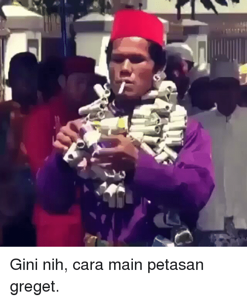 Indonesian (Language), Cara, and Gini: Gini nih, cara main petasan greget.