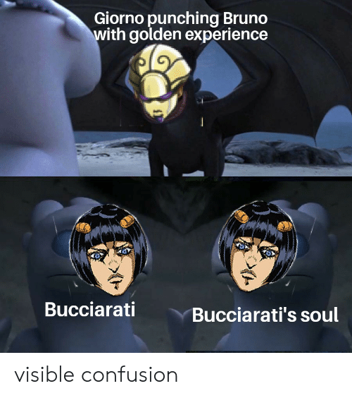 Experience, Soul, and Bruno: Giorno punching Bruno  with golden experience  Bucciarati  Bucciarati's soul visible confusion