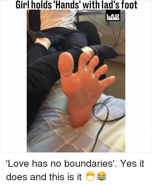 Girl Holds 'Hands' With Lad's Foot LAD BIBLE 'Love Has No