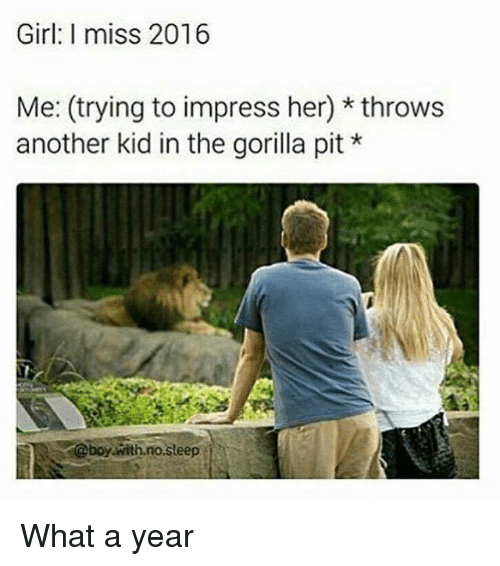 Girl, Dank Memes, and Sleep: Girl: I miss 2016  Me: (trying to impress her) throws  another kid in the gorilla pit *  @boy with.no.sleep What a year
