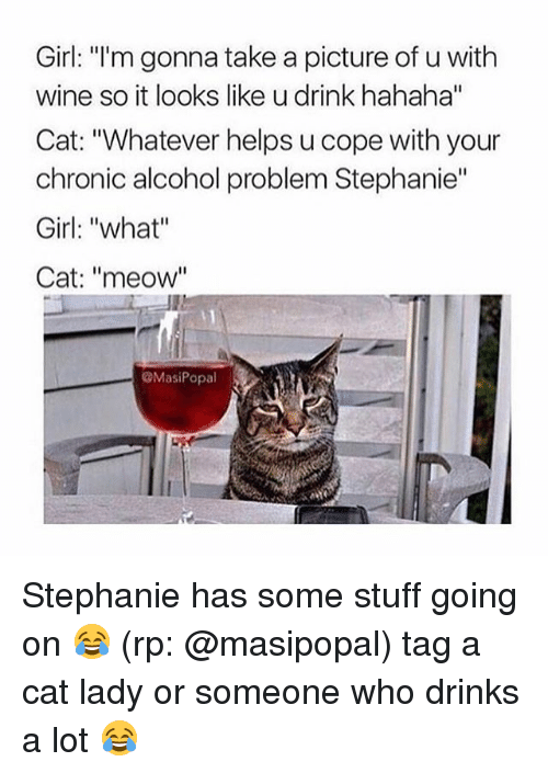 """Funny, Wine, and Alcohol: Girl: """"I'm gonna take a picture of u with  wine so it looks like u drink hahaha""""  Cat: """"Whatever helps u cope with your  chronic alcohol problem Stephanie""""  Girl: """"what""""  Cat: """"meow""""  ㄩㄧ  MasiPopal Stephanie has some stuff going on 😂 (rp: @masipopal) tag a cat lady or someone who drinks a lot 😂"""