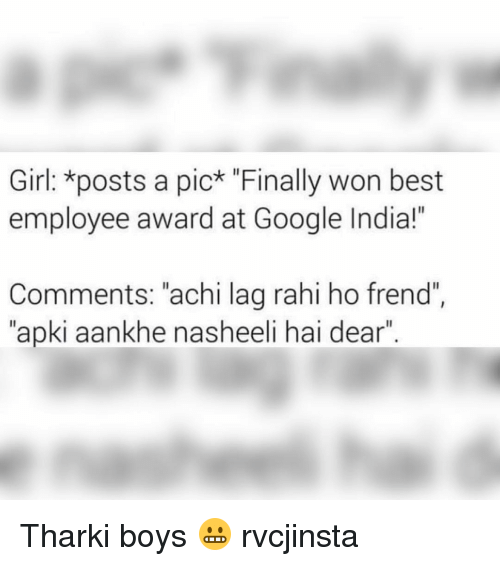 girl posts a pic finally won best employee award at google india