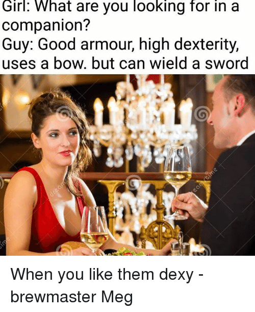 Girl, Good, and DnD: Girl:  What  are you looking  for  in  a  companion?  Guy: Good armour, high dexterity,  uses a bow. but can wield a sword When you like them dexy  -brewmaster Meg