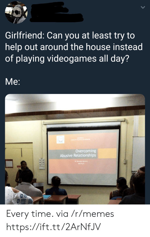 Memes, Relationships, and Help: Girlfriend: Can you at least try to  help out around the house instead  of playing videogames all day?  Me:  Overcoming  Abusive Relationships Every time. via /r/memes https://ift.tt/2ArNfJV