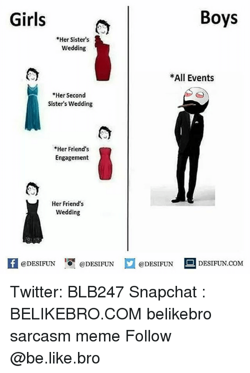 Be Like, Friends, and Girls: Girls  Boys  *Her Sisters  Wedding  *All Events  *Her Second  Sister's Wedding  Her Friend's  Engagement  Her Friend's  Wedding  @DESIFUN 증@DESIFUN  @DESIFUN  DESIFUN.COMM Twitter: BLB247 Snapchat : BELIKEBRO.COM belikebro sarcasm meme Follow @be.like.bro