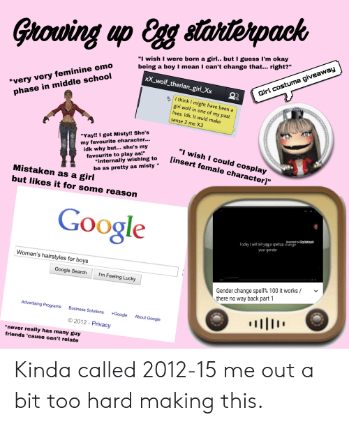 Girovwing Up Egg Stanterpack Ouu I Wish I Were Born a Girl