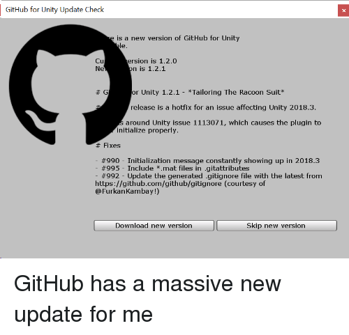 GitHub for Unity Update Check Is a New Version of GitHub for Unity