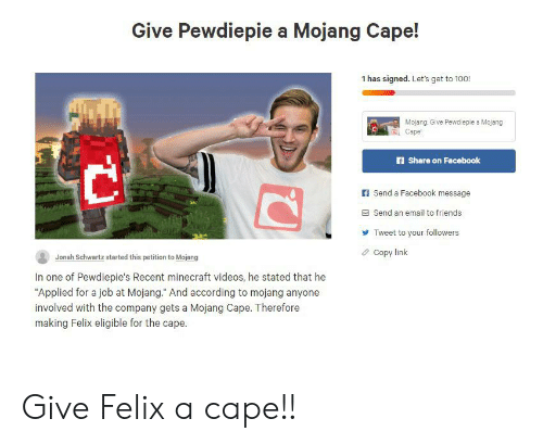 Give Pewdiepie a Mojang Cape! 1 Has Signed Let's Get to 100