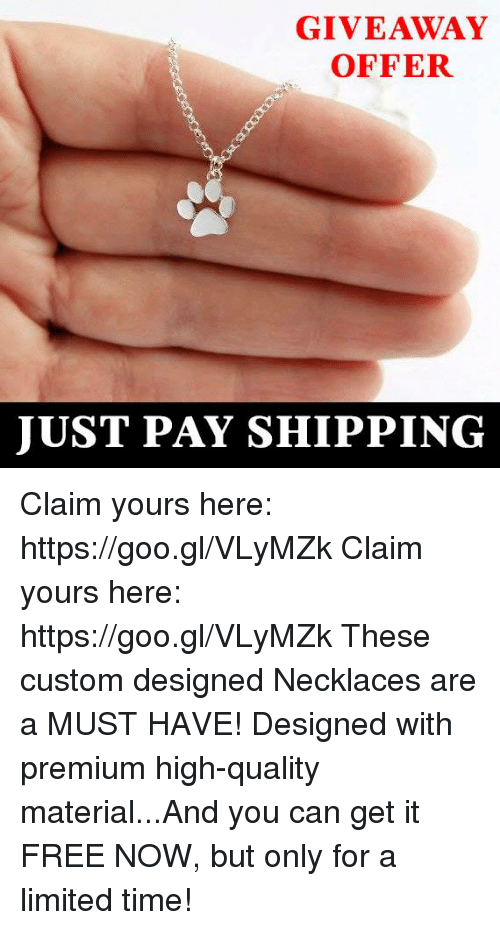 GIVEAWAY OFFER JUST PAY SHIPPING Claim Yours Here