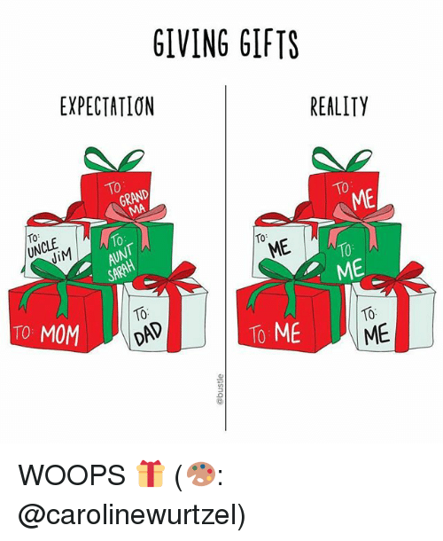 Memes, Reality, and Mom: GIVING GIFTS  EXPECTATION  REALITY  ME  10  ME  ME  10  TO MOM  To ME  ME WOOPS 🎁 (🎨: @carolinewurtzel)