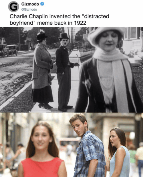 gizmodo charlie chaplin invented the distracted boyfriend meme back