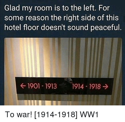 Hotel, Reason, and Ww1: Glad my room is to the left. For  some reason the right side of this  hotel floor doesn't sound peaceful  ← 1901-1913  1914-1918 → To war! [1914-1918] WW1