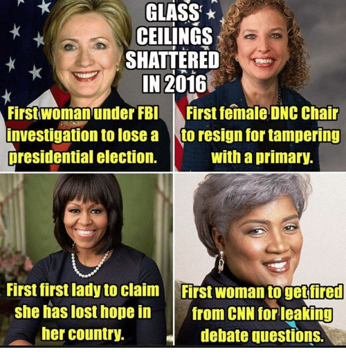 glass ceilings shattered in 2016 first woman under fbi first 21429093 ✅ 25 best memes about dnc dnc memes