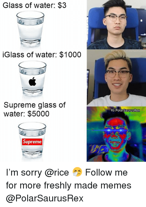Memes, Sorry, and Supreme: Glass of water: $:3  iGlass of water: $1000  Supreme glass of  water: $5000  TG:PolarsaurusRex  Supreme I'm sorry @rice 🤧 Follow me for more freshly made memes @PolarSaurusRex