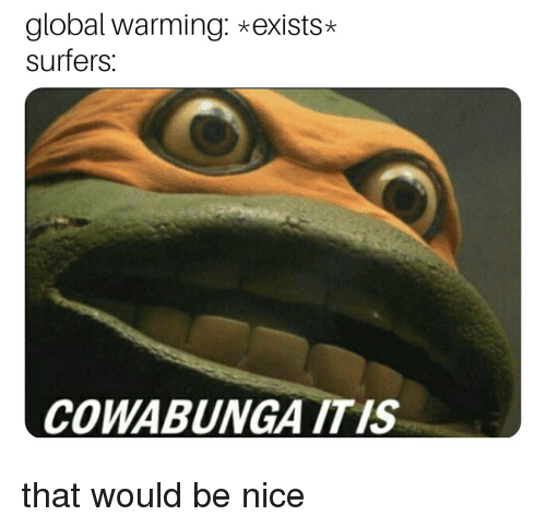 36a61c92637e Global Warming  Exists  Surfers COWABUNGA ITIS