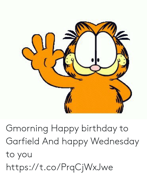 me.me: ( Gmorning Happy birthday to Garfield And happy Wednesday to you https://t.co/PrqCjWxJwe