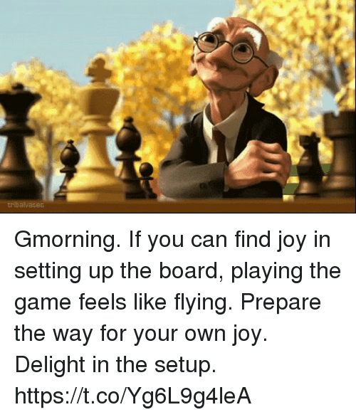 Sizzle: Gmorning. If you can find joy in setting up the board, playing the game feels like flying. Prepare the way for your own joy. Delight in the setup. https://t.co/Yg6L9g4leA