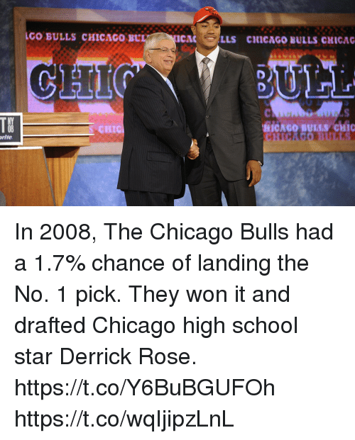Chicago, Chicago Bulls, and Derrick Rose: GO BULLS CHICAGo BUI  CAC  LLS CICAGO BULLS CHICAG  10  CHIC  rite In 2008, The Chicago Bulls had a 1.7% chance of landing the No. 1 pick. They won it and drafted Chicago high school star Derrick Rose. https://t.co/Y6BuBGUFOh https://t.co/wqIjipzLnL
