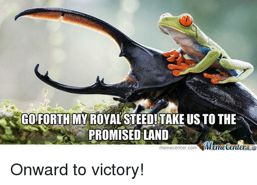 Memes, Victorious, and 🤖: GO FORTHMY ROYALSTEED! TAKE US TO THE  PROMISED LAND  memecenter-com Onward to victory!