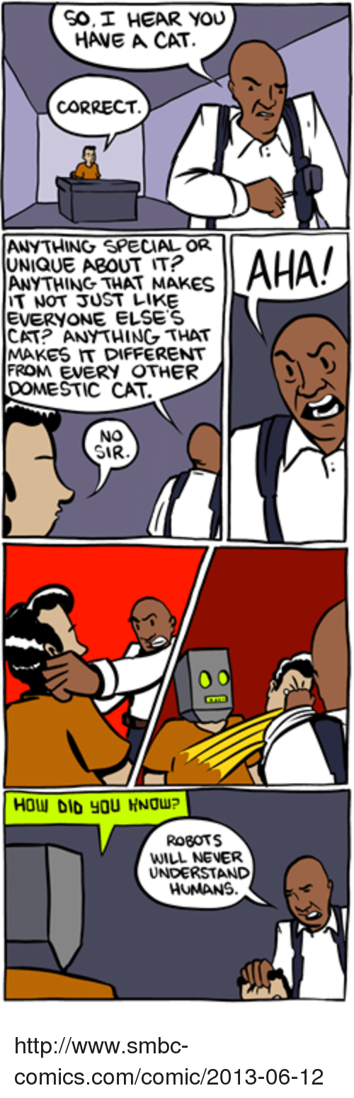 Memes, 🤖, and Cat: GO, I HEAR YOU  HANE A CAT  CORRECT  ANYTHING SPECIAL OR  AHA!  UNIQUE ABOUT IT?  ANYTHING THAT MAKES  T NOT JUST LIKE  EVERYONE ELSES  CAT? ANYTHING THAT  MAKES IT DIFFERENT  FROM EVERY OTHER  DOMESTIC CAT  NO  SIR  HOW DID YOU HNUu?  ROBOTS  WILL NEVER  UNDERSTAND  HUMANS http://www.smbc-comics.com/comic/2013-06-12