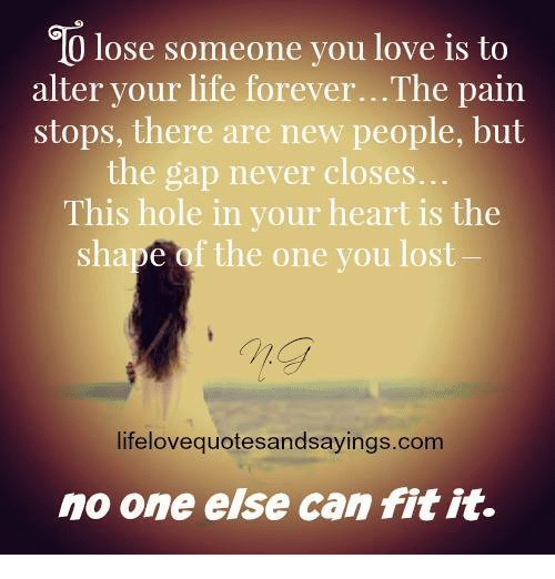 Life, Love, And The Gap: Go Lose Someone You Love Is To Alter