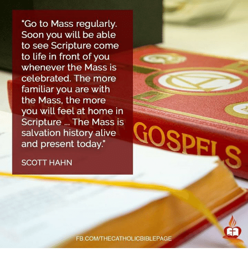 "Alive, Life, and Memes: ""Go to Mass regularly.  Soon you will be able  to see Scripture come  to life in front of you  whenever the Mass is  celebrated. The more  familiar you are with  the Mass, the more  you will feel at home in  Scripture The Mass is  GOSPEL  salvation history alive  and present today.""  SCOTT HAHN  FB.COMTTHECATHOLICBIBLEPAGE"