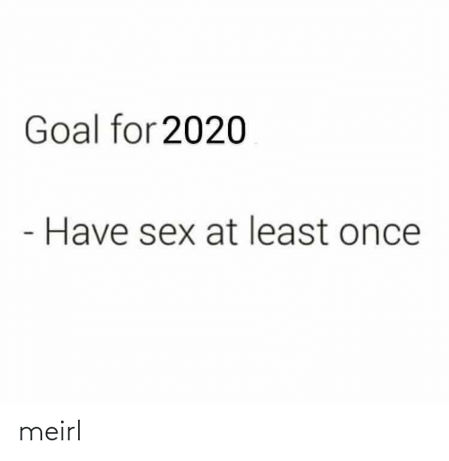Sex, Goal, and MeIRL: Goal for 2020  Have sex at least once meirl